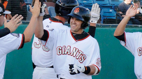 Adam Duvall has eight homers in his last 10 California League games.